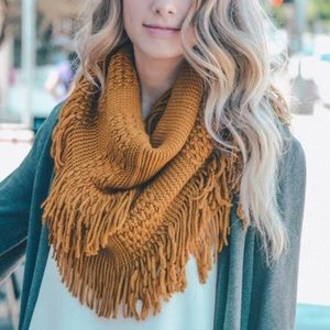 ⭐️2/$38 New Pointelle Infinity Scarf in Mustard